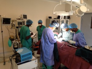 The team performing surgery and monitoring patient vitals.